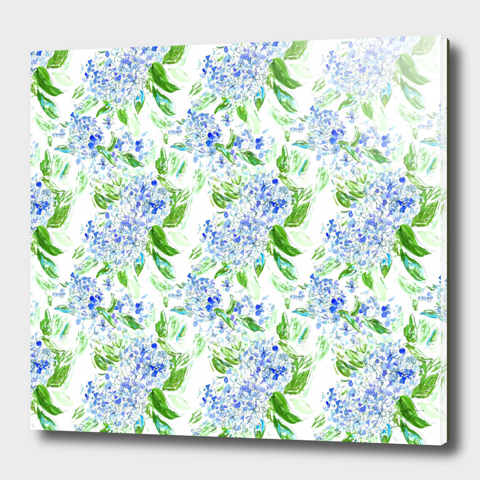 Blue Hydrangea Floral Watercolour Pattern