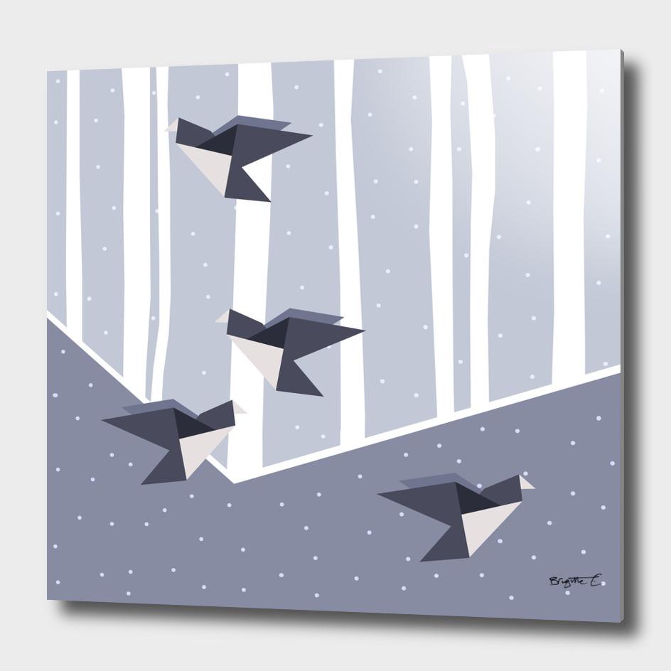 Elegant Origami Birds Abstract Winter Design