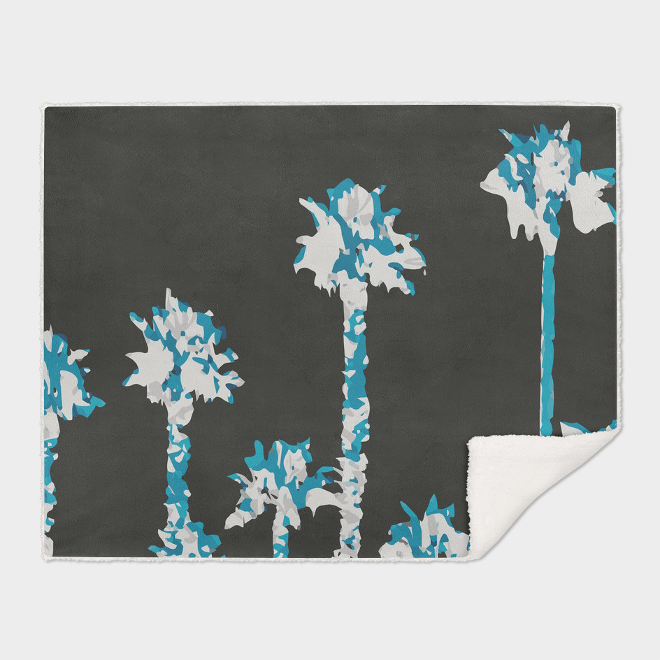 blue palm trees with dark blue background
