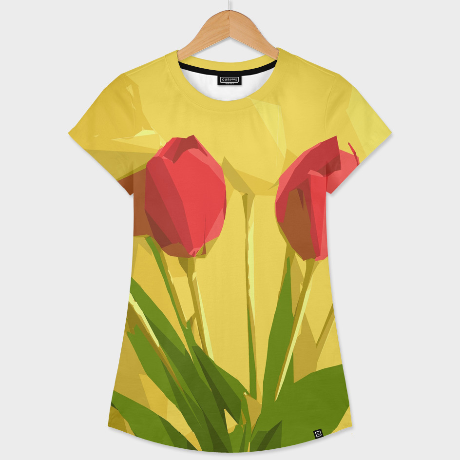 red flower geometric pattern with yellow background