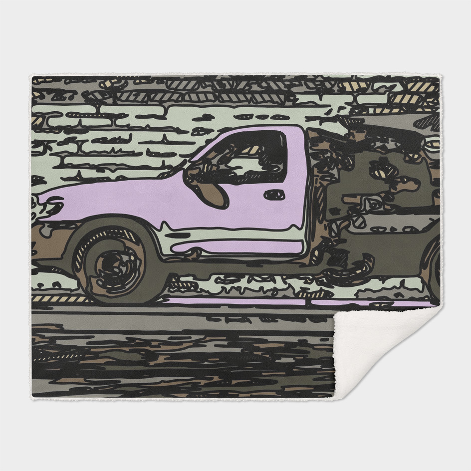 pink car on the street drawing abstract