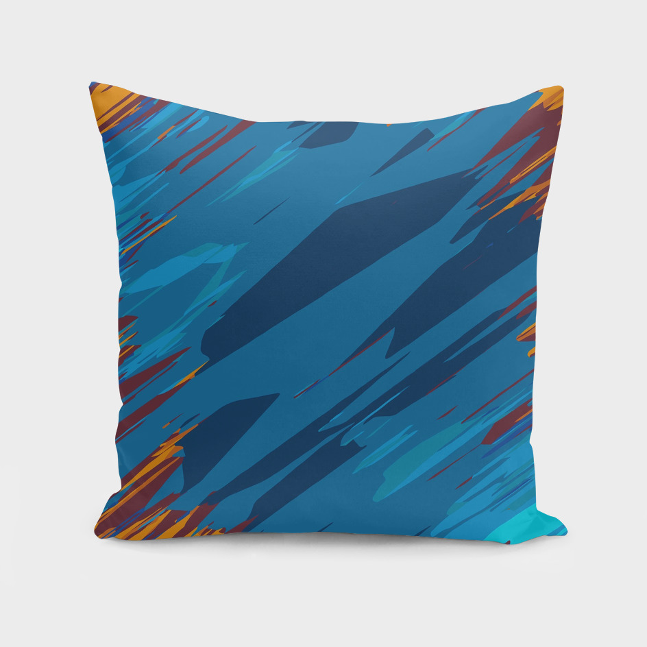 geometric graffiti abstract in blue and brown