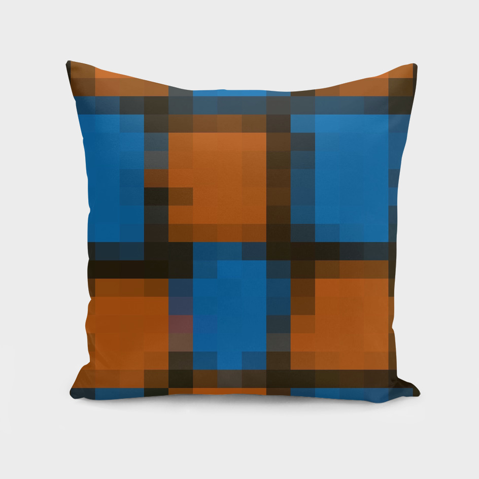 geometric square pattern pixel abstract in orange blue black