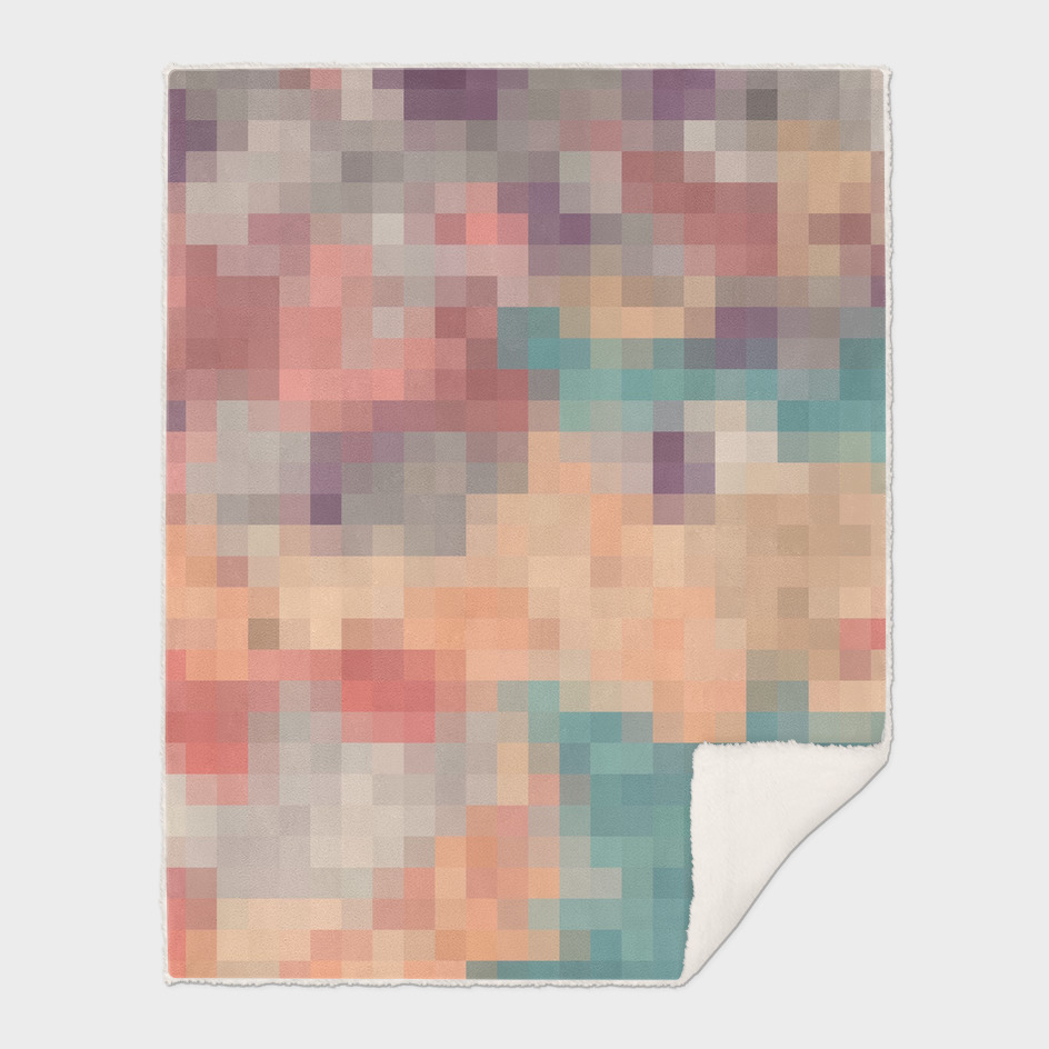 geometric square pixel abstract in pink orange purple blue