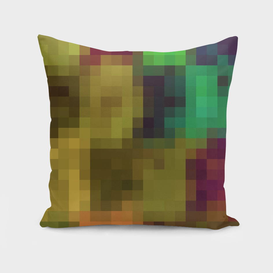 green brown and orange pixel abstract