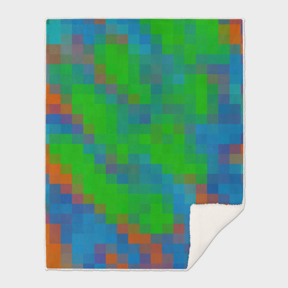 geometric square pixel abstract in green blue orange