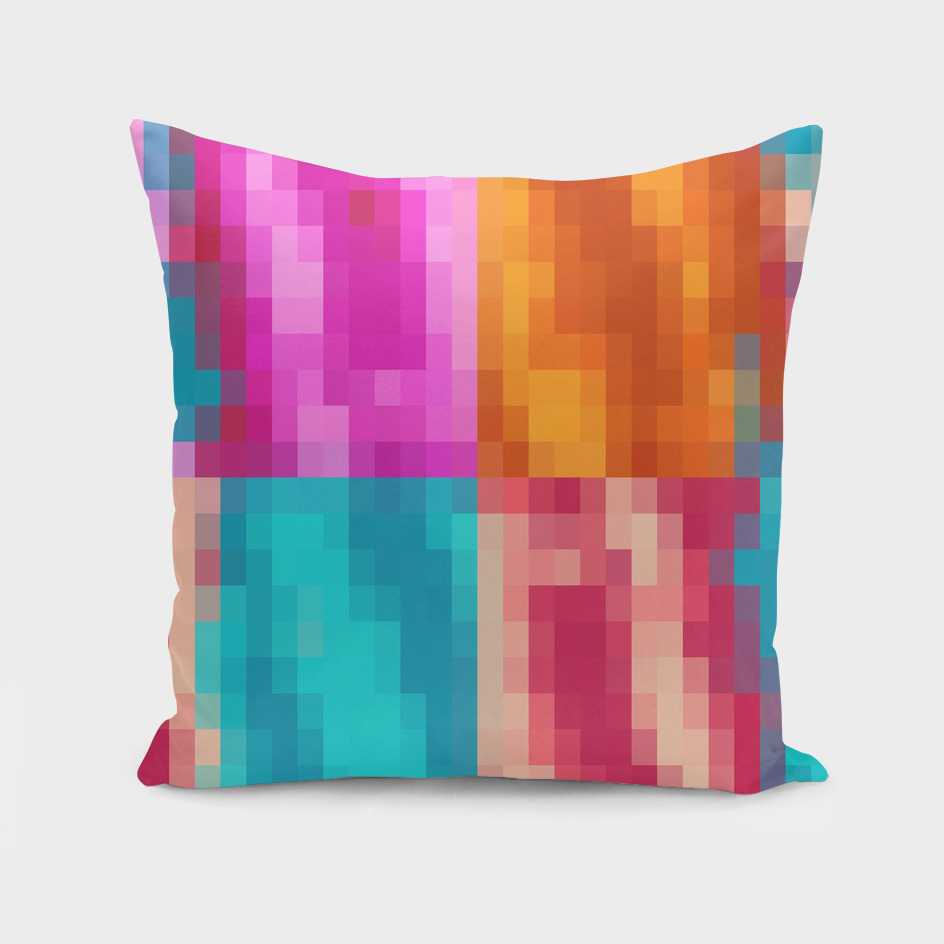 geometric square pixel abstract in orange pink blue