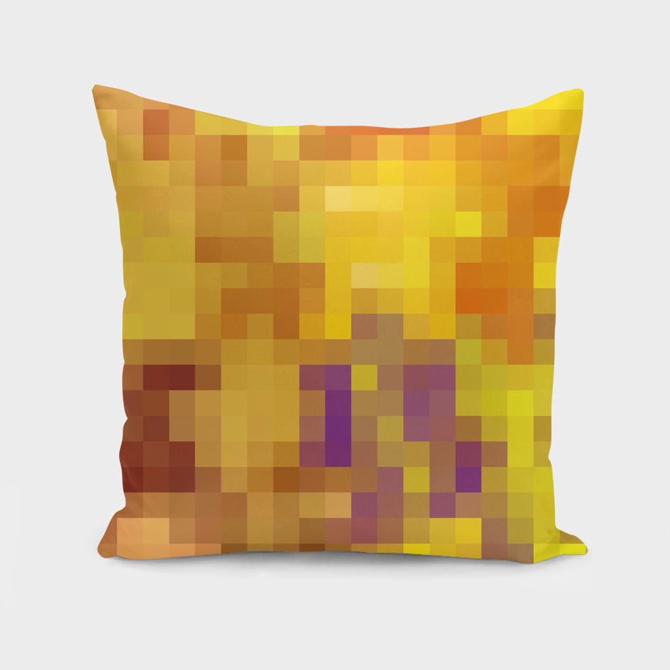 geometric square pixel abstract in yellow purple orange