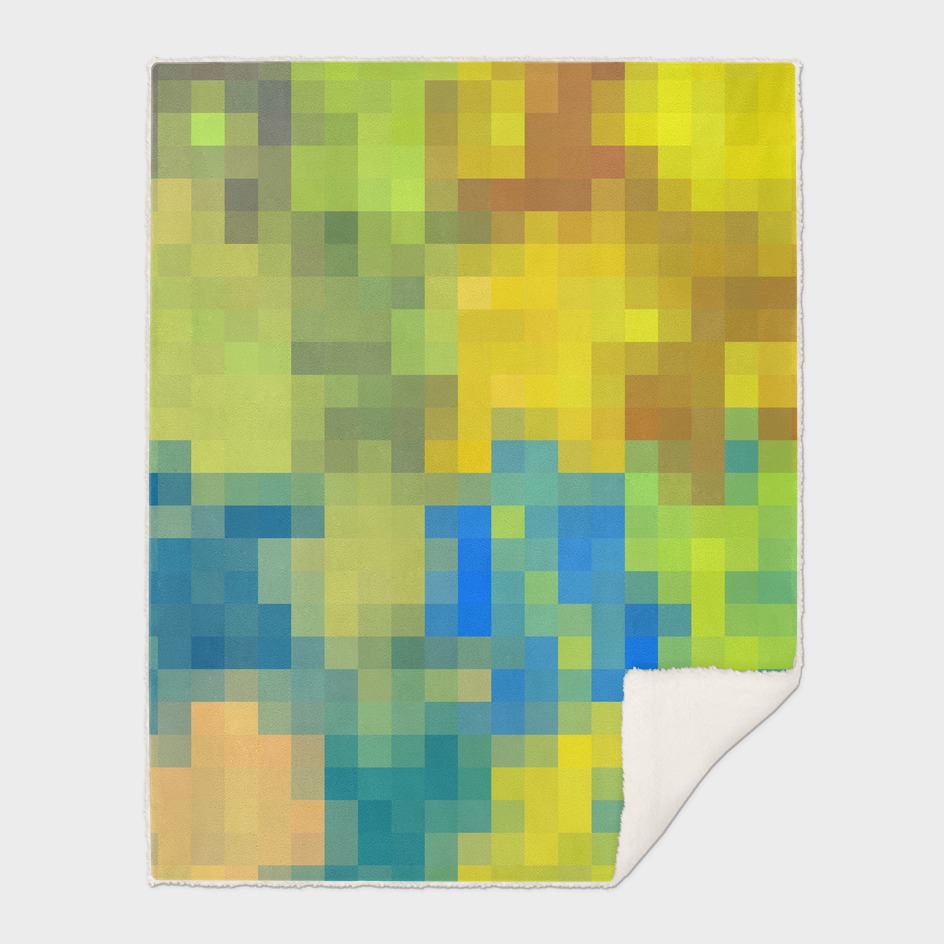 geometric square pixel abstract in yellow blue green brown