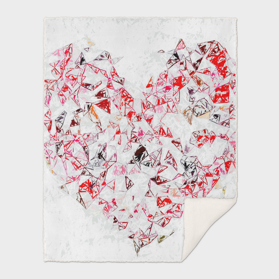 red heart shape abstract with white abstract background
