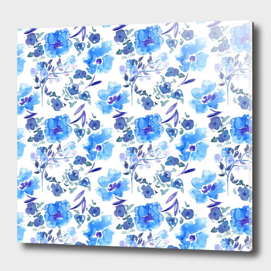 Painterly Blue Watercolour Floral Pattern
