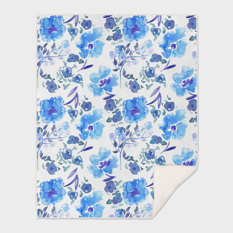 Painterly Blue Watercolour Floral Pattern