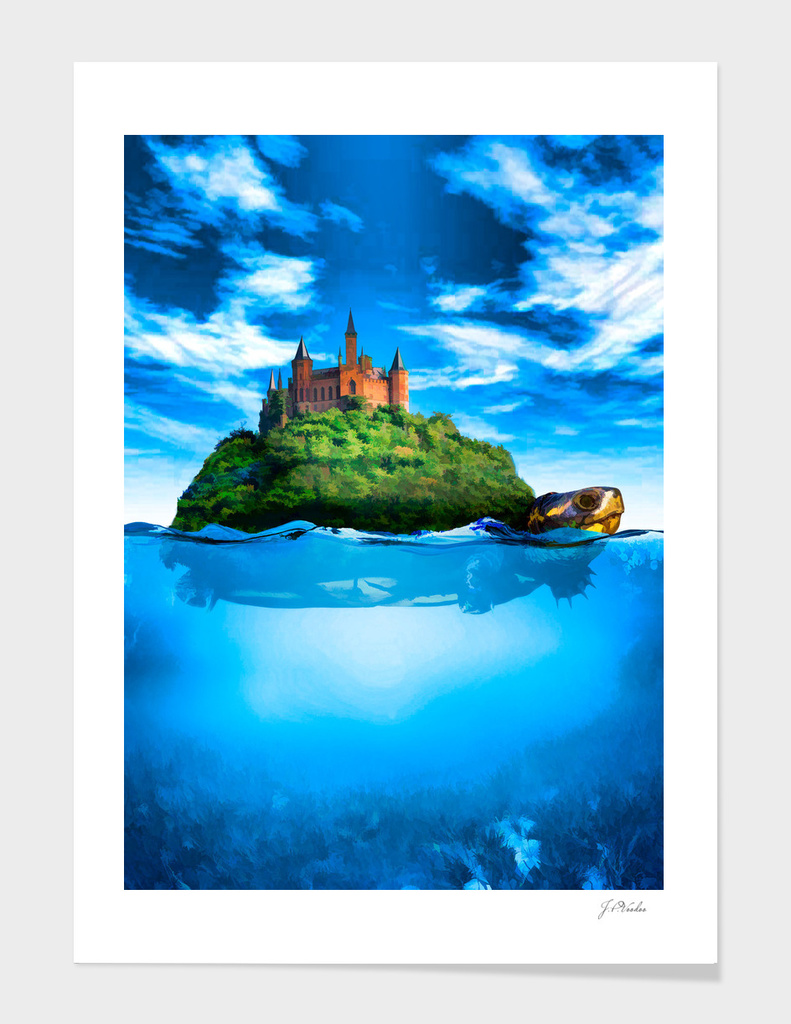 Turtle with castle