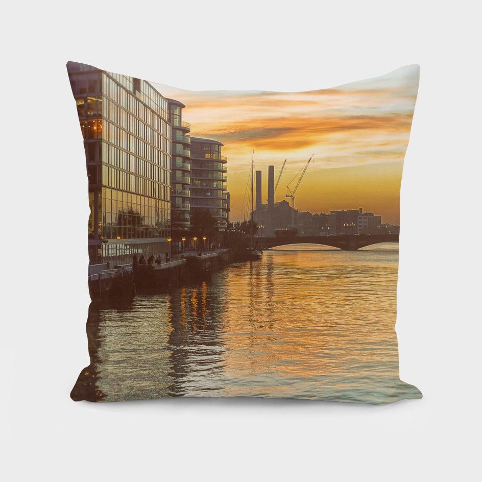Sunset over Chelsea Bridge 02A - Vintage
