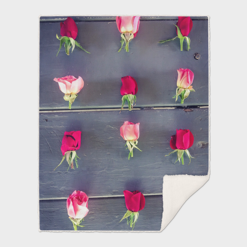 red and pink rose on the wooden table