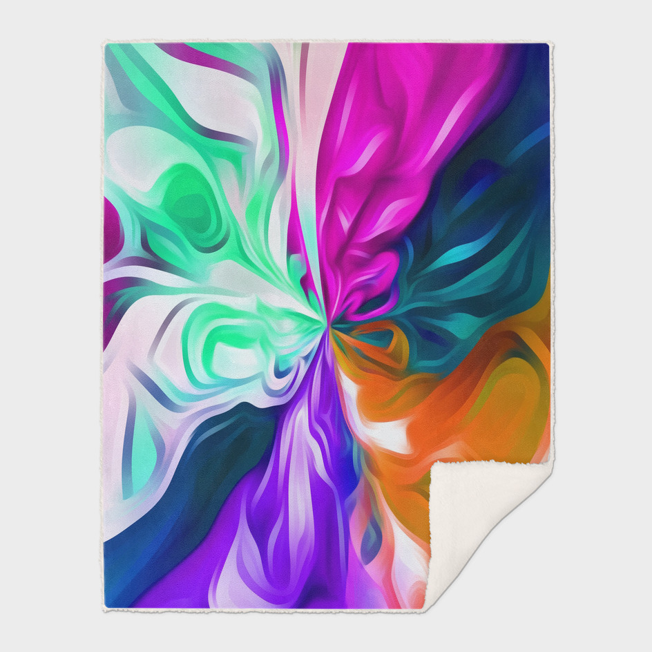 pink purple orange blue and green spiral painting