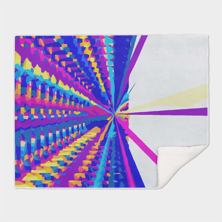 psychedelic geometric abstract in purple pink yellow blue