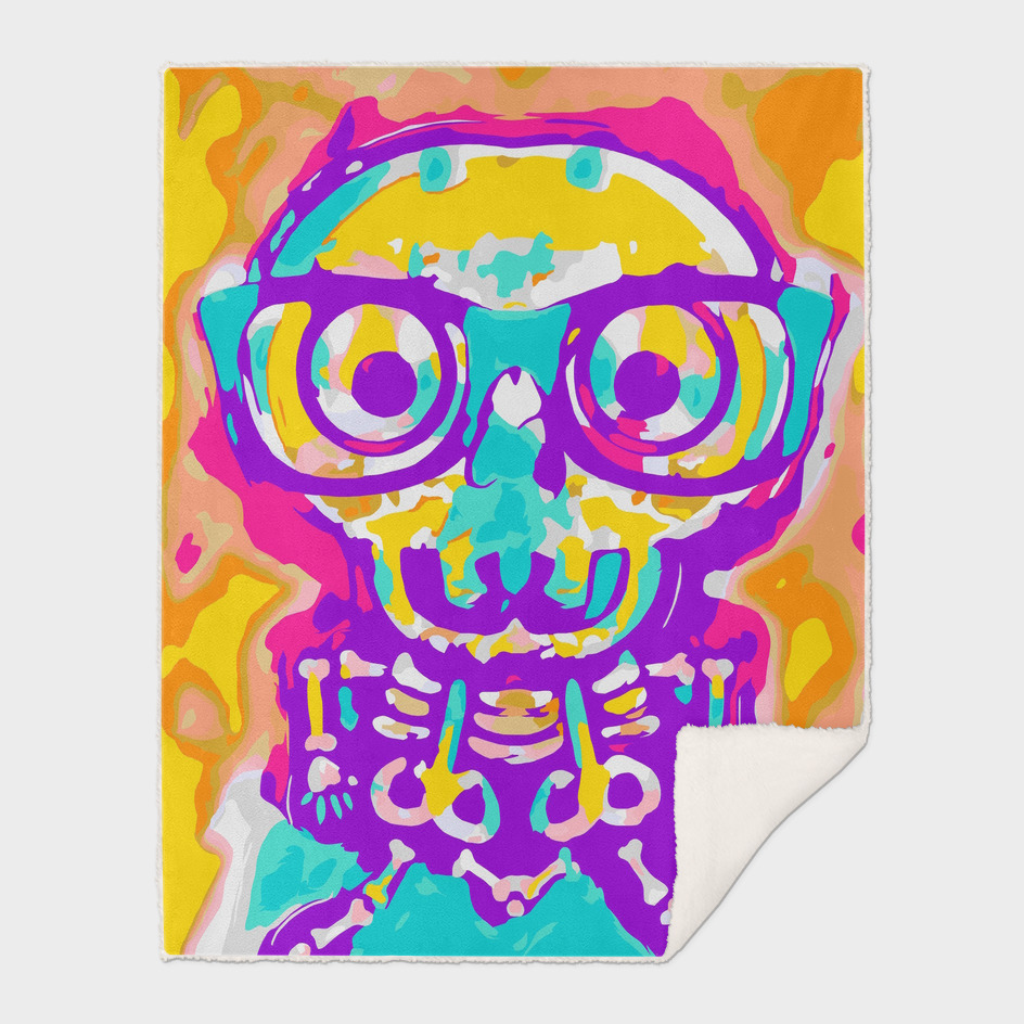 funny skull in blue yellow pink orange and purple