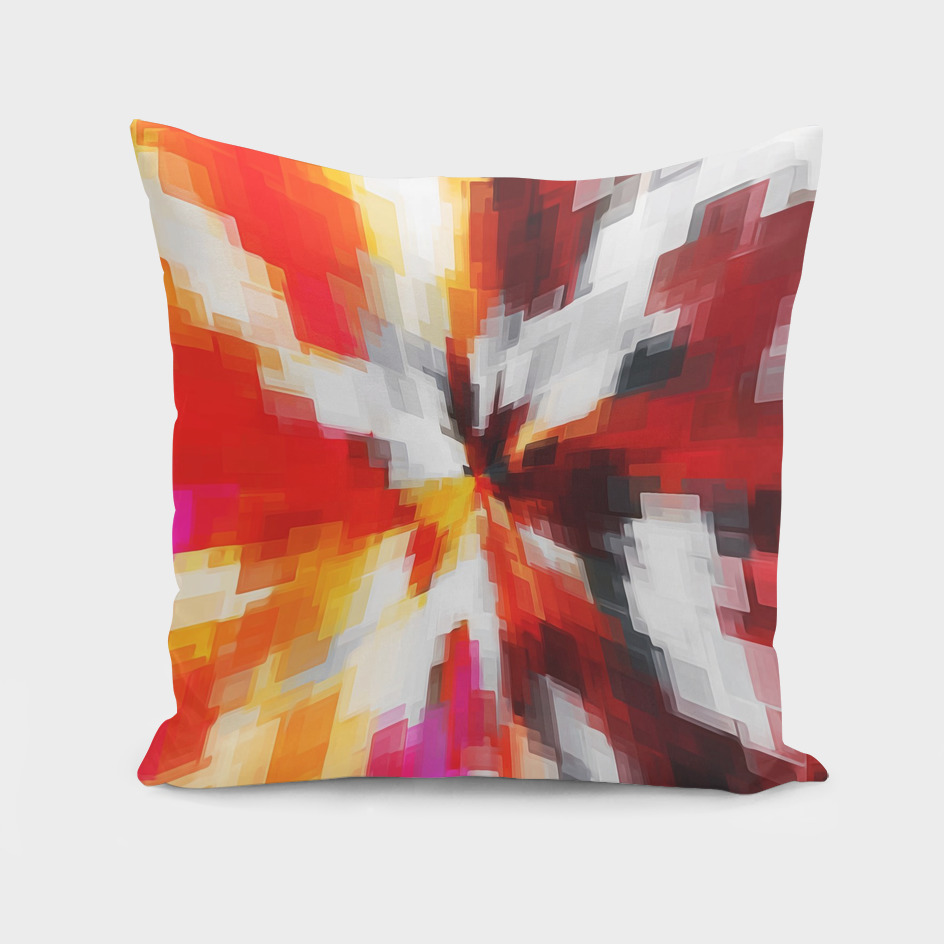 geometric square pattern abstract in red orange pink