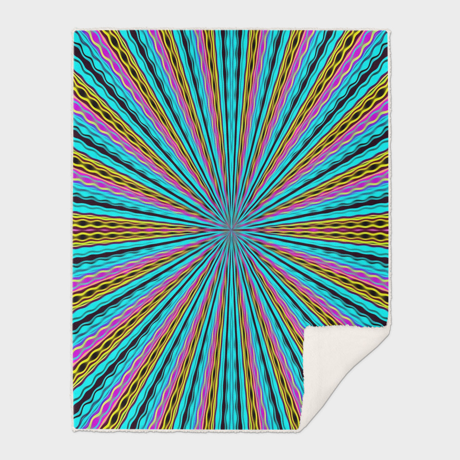 geometric graffiti abstract in blue pink yellow