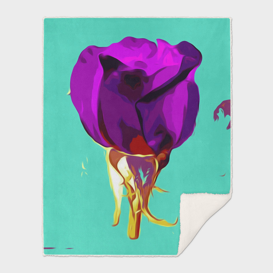 purple rose with gold stem and green background