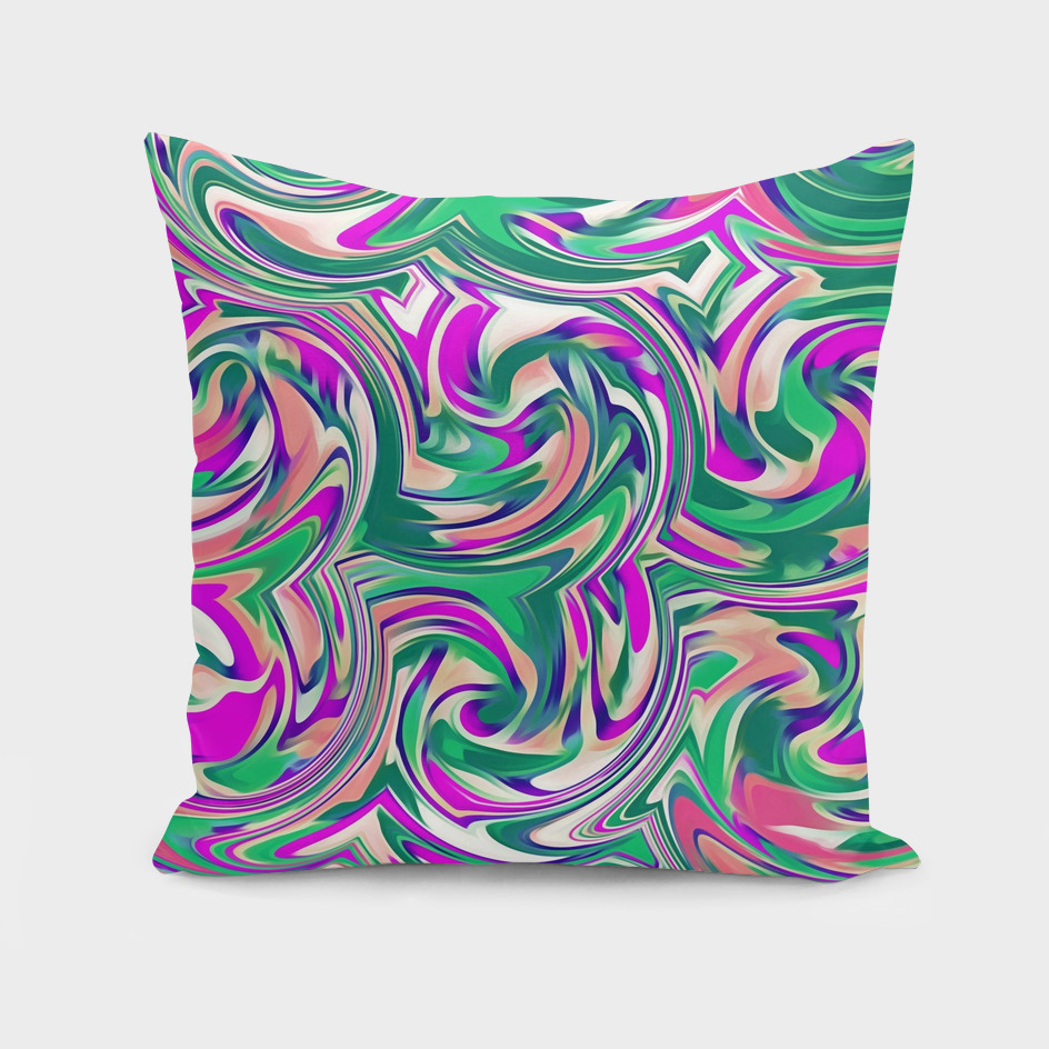 pink purple and green curly painting