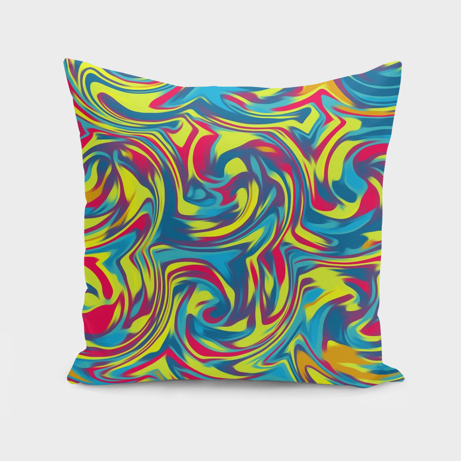red blue and yellow curly painting abstract