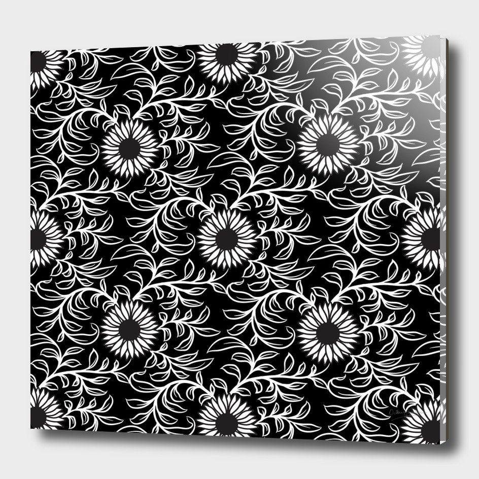 Black&White Sunflower Pattern