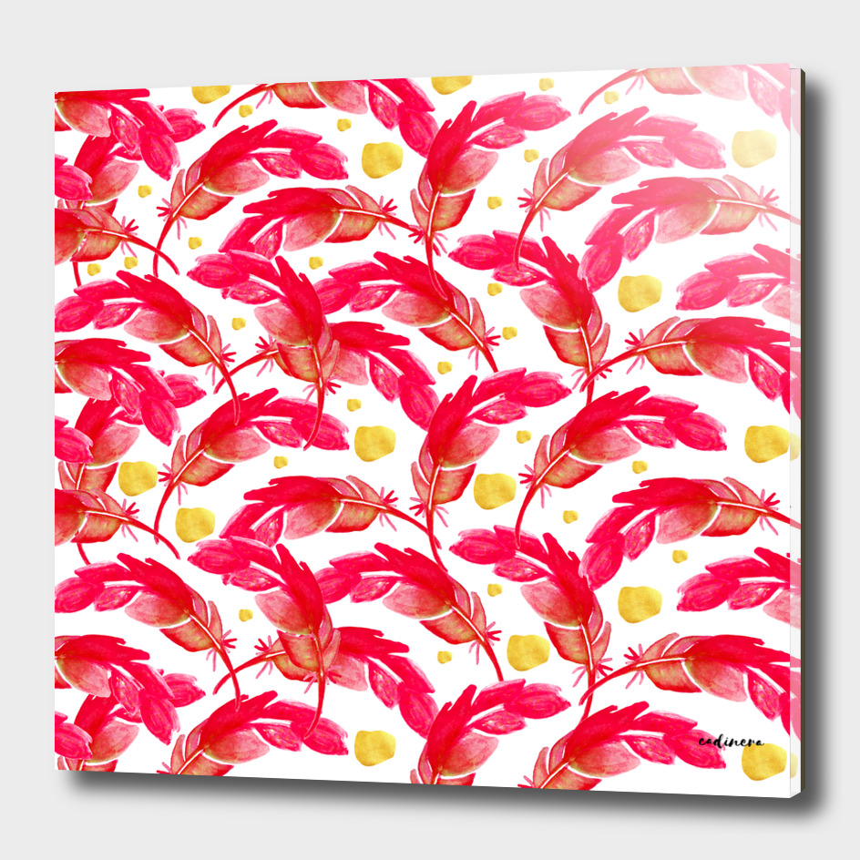 Vermillion (Red Watercolor Feathers and Gold Blush)