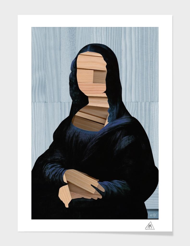 Mona Lisa - blue shinning WoodCutCollage