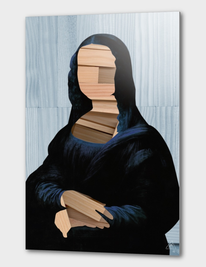 Mona Lisa - blue shinning WoodCutCollage