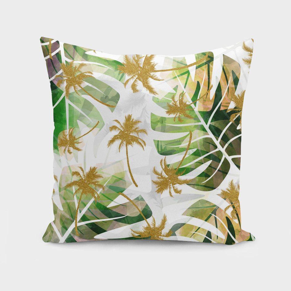 Monstera and golden tropical palms
