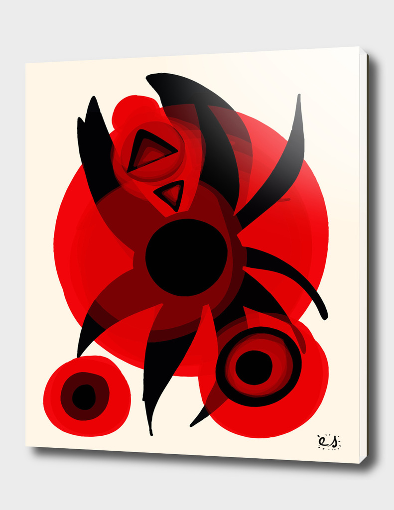 Red Black Star Abstract Art