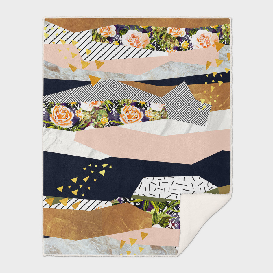Collage of textured shapes and flowers