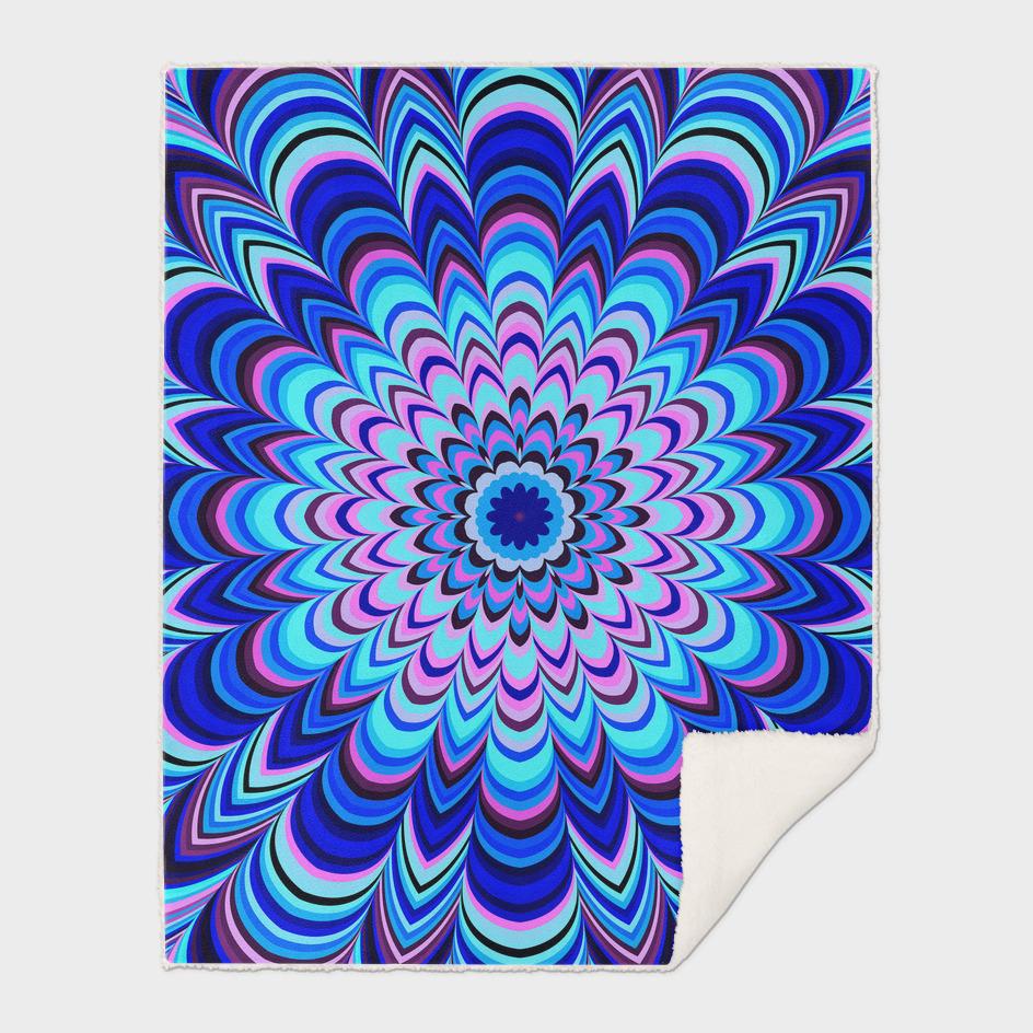 Neon blue striped mandala