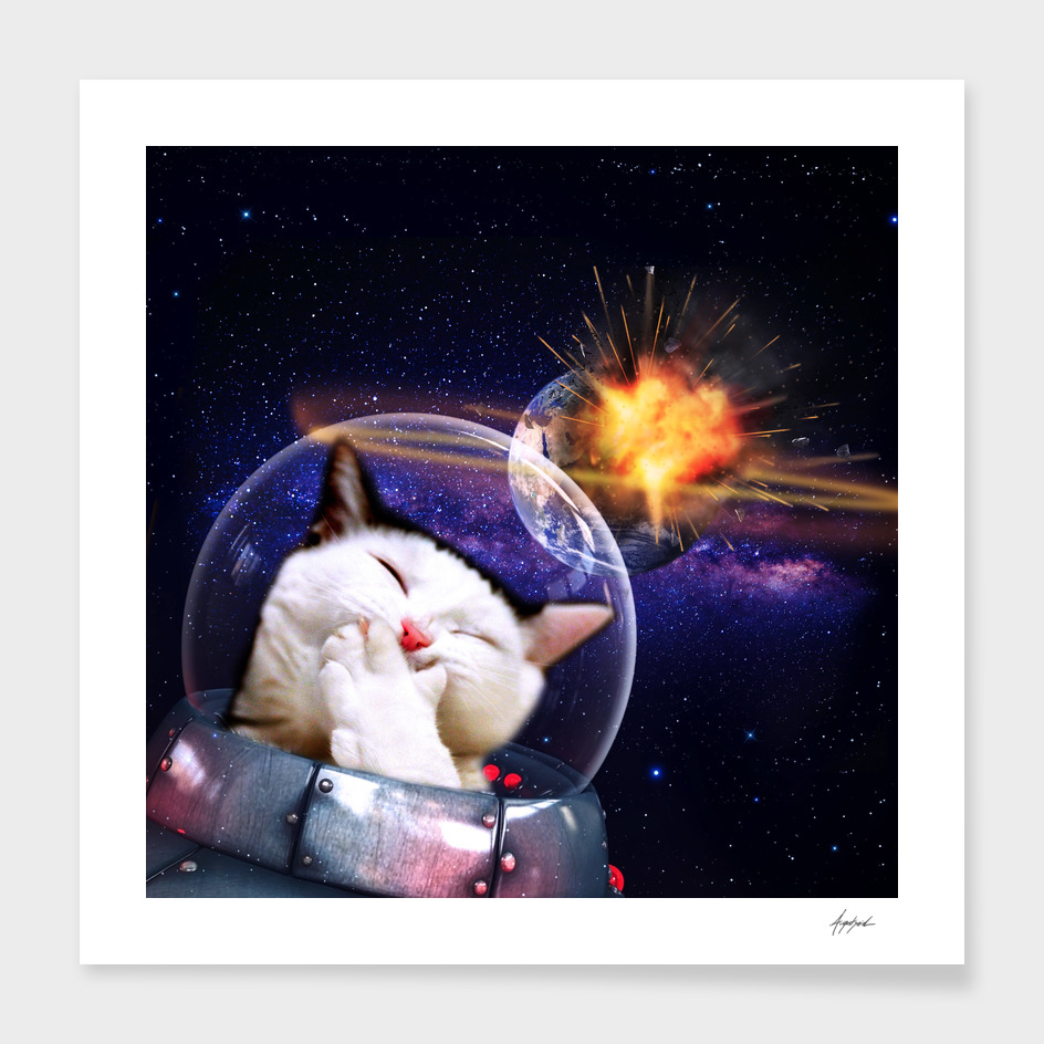 Cat Destroys Earth Ufo Space Traveler laughing