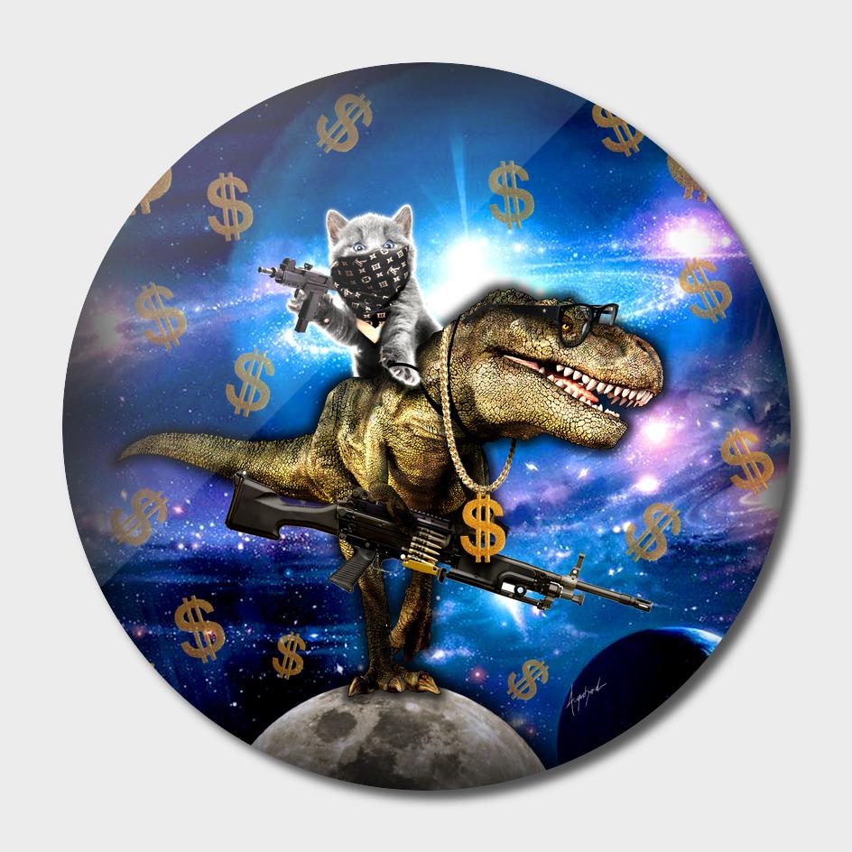 Cat Kitty Travel through Galaxy on Dinosaur T-rex