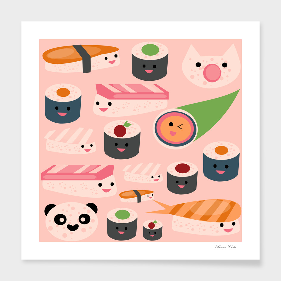KAWAII sushi  hot pink