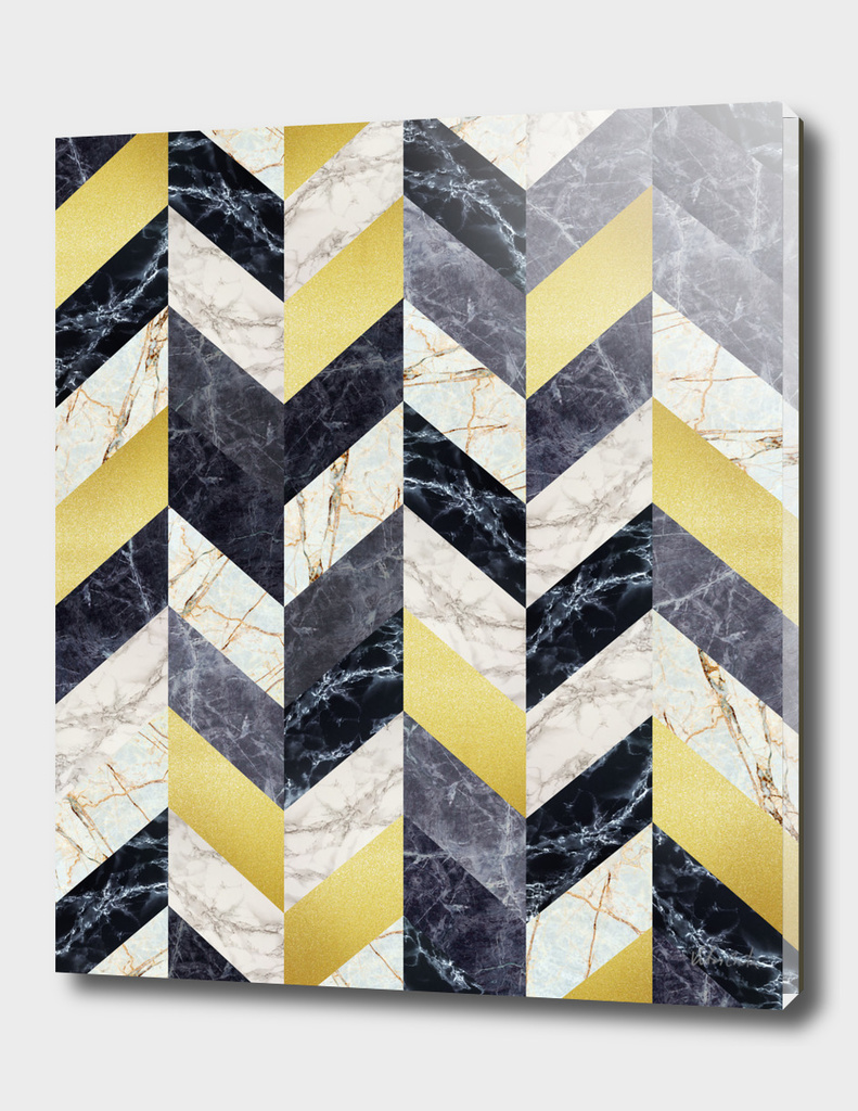 Marble and gold geometric