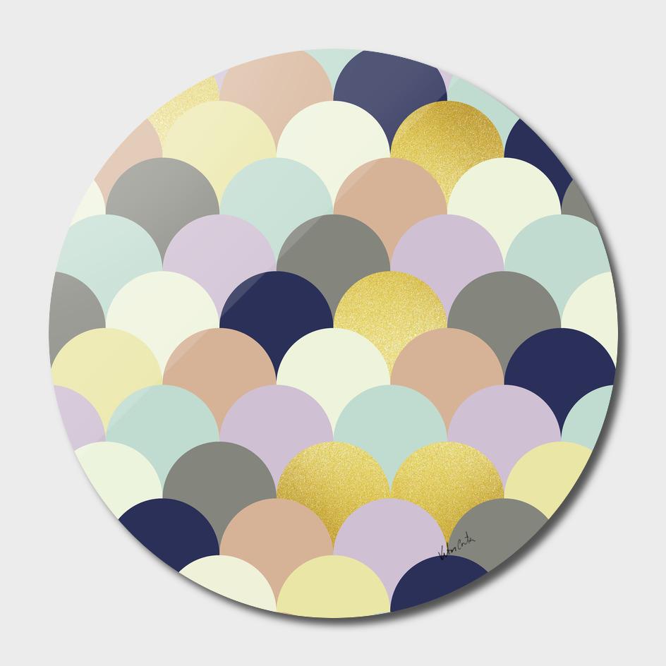 Geometric and gold circles