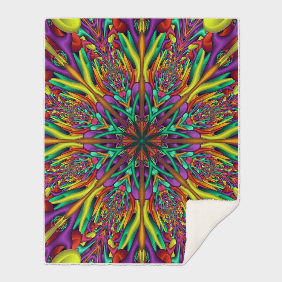 Crazy colors 3D mandala