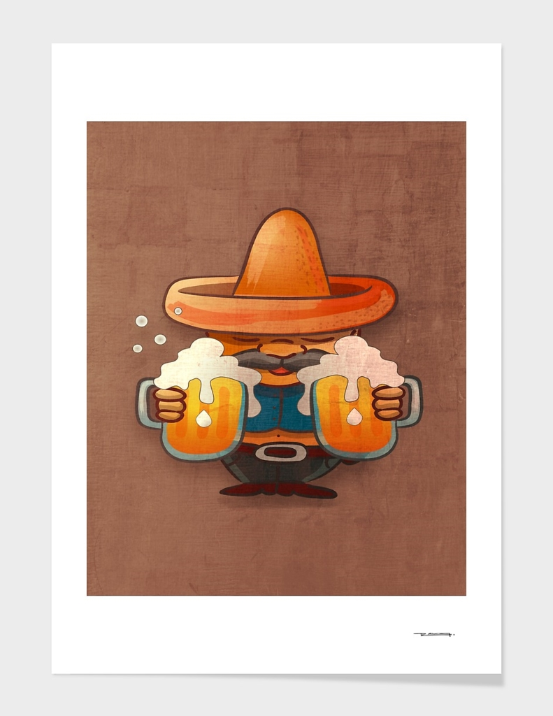 Man with sombrero and jars of beer illustration