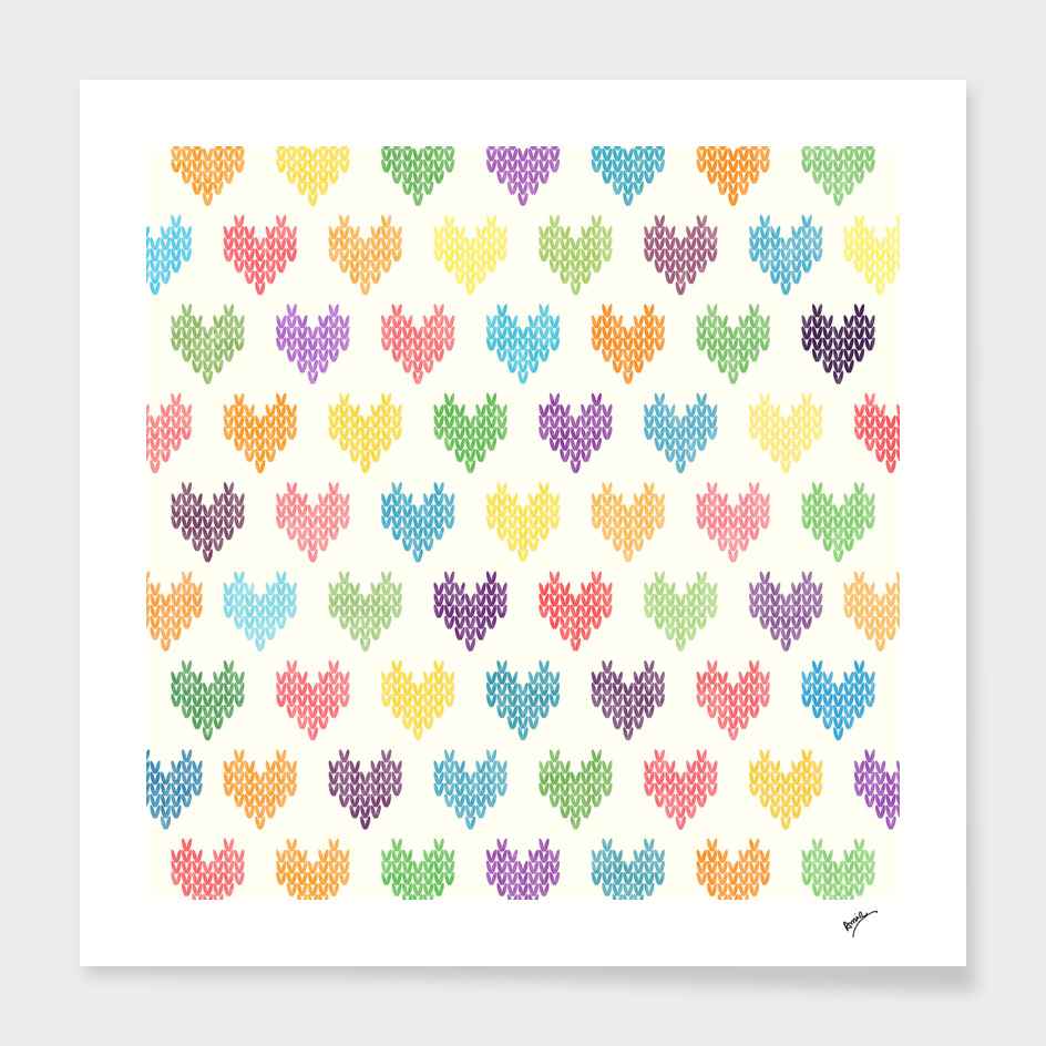 Colorful Knitted Hearts IX