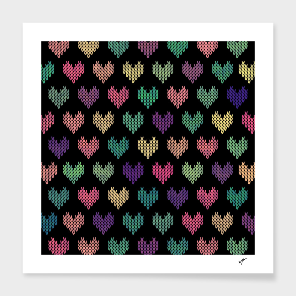 Colorful Knitted Hearts IV