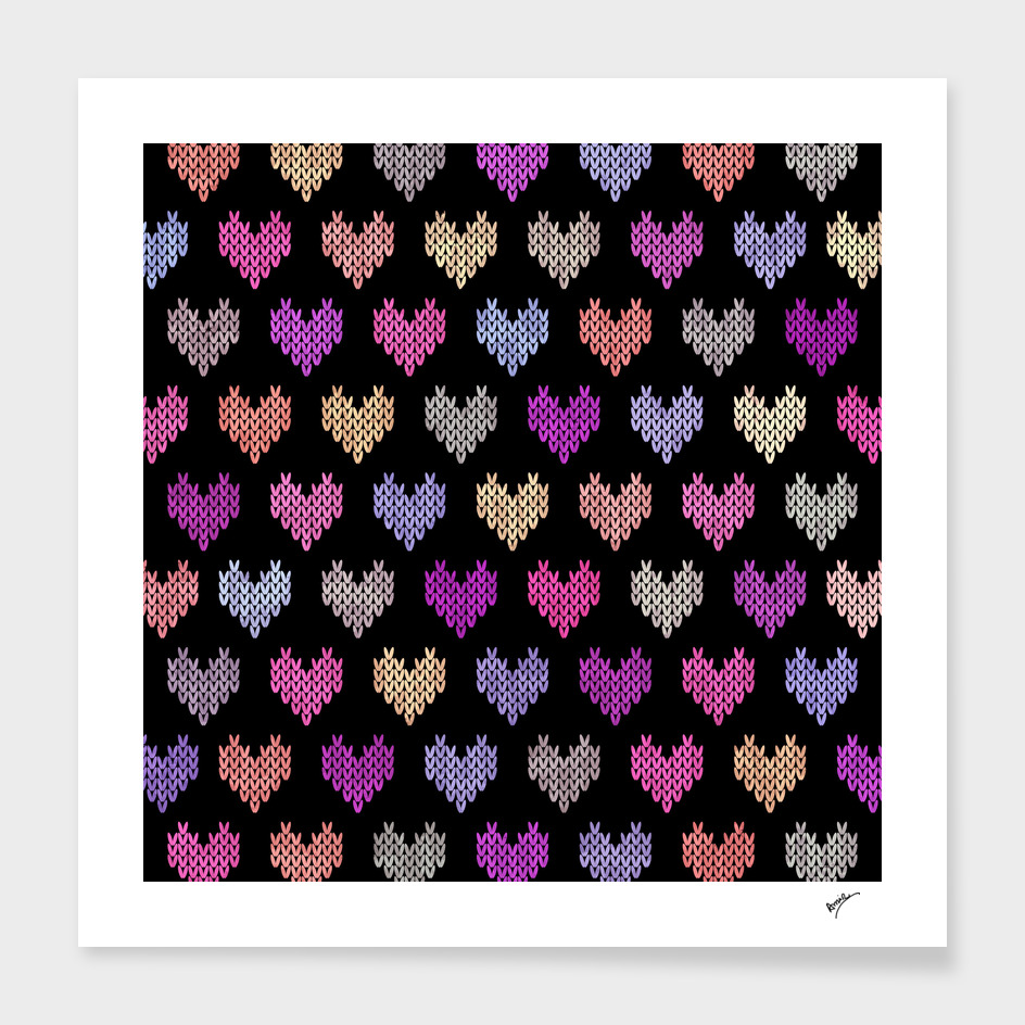 Colorful Knitted Hearts VIII