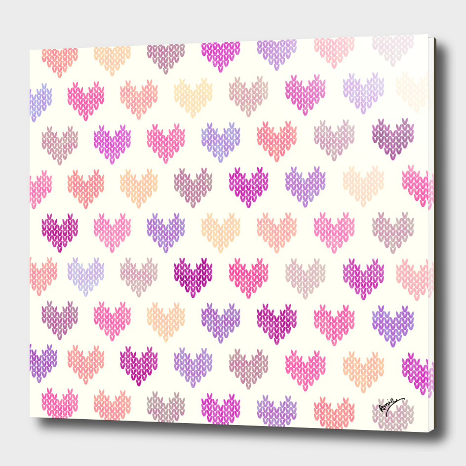 Colorful Knitted Hearts V