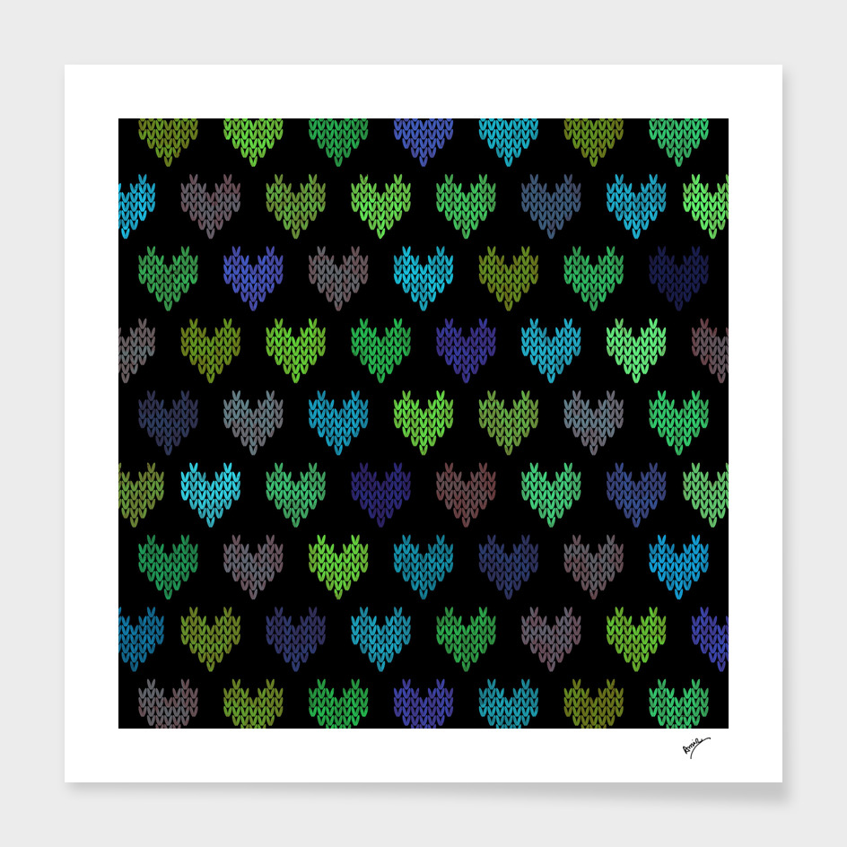 Colorful Knitted Hearts VII