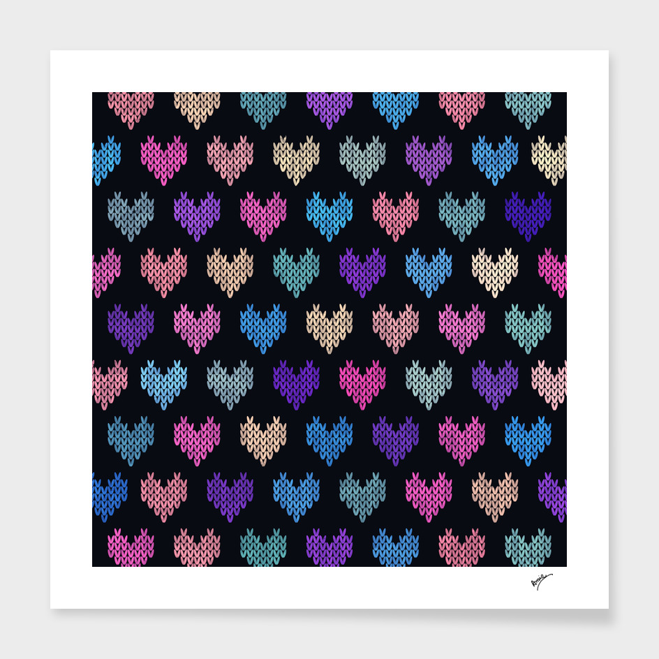 Colorful Knitted Hearts II