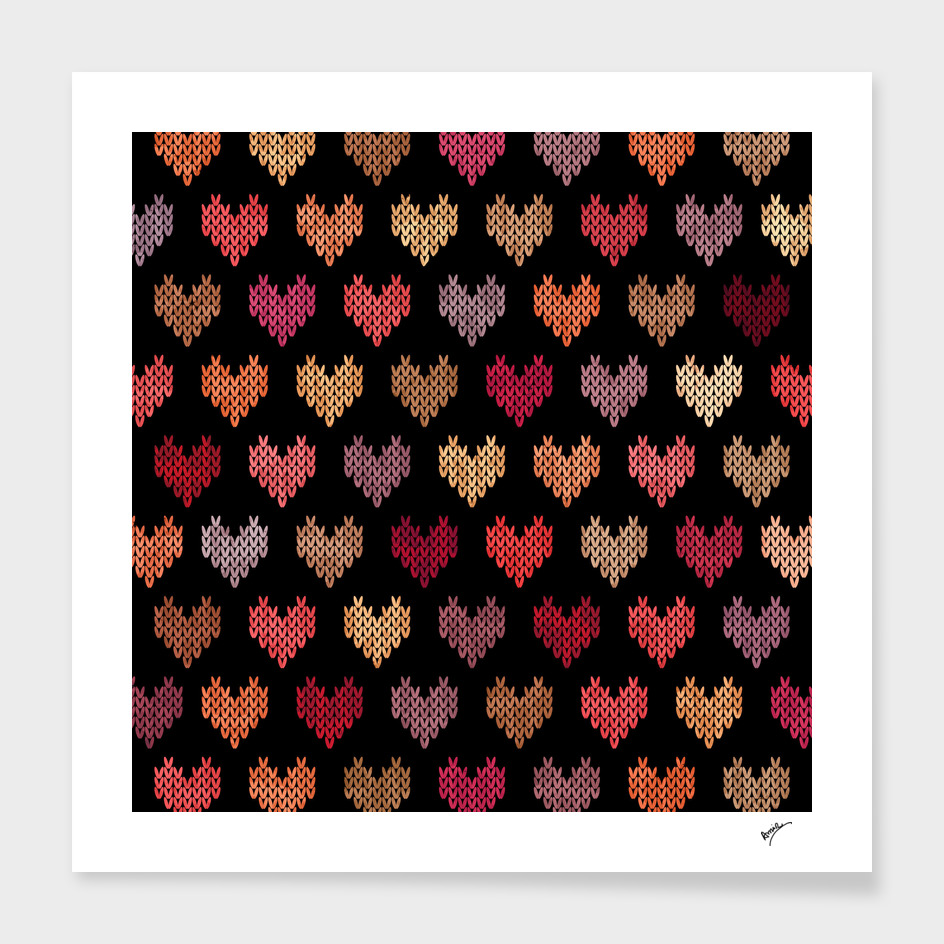 Colorful Knitted Hearts VI