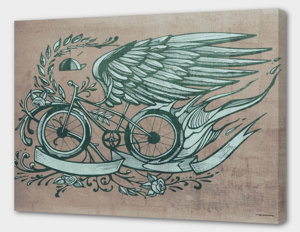 Flying bike illustration